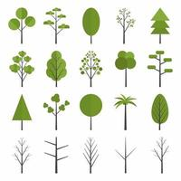 Set of forest trees icon. Pine, spruce, oak, birch, trunk, aspen, alder, poplar, chestnut, palm apple tree. Green summer forest tree concept. Flat forest tree nature plant isolated eco foliage. vector