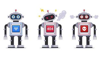 conjunto de un robot malvado, amable y roto. juguete mecánico para niños. Ilustración de vector de personaje plano.