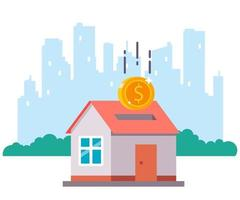 purchase of a country house on the background of the city. flat vector illustration.