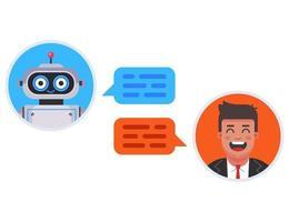 chat bot responde automáticamente a la pregunta del cliente. Ilustración de vector de personaje plano