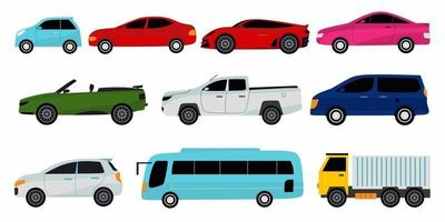 Collection of different cars. Sport car, vintage car, sedan car, cargo truck and bus. Vector illustration for automobile, transportation, vehicle concept.