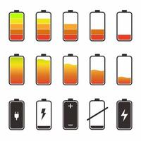 Set of different battery capacity levels with colorful indicators. Low battery red color and high full level energy battery green. Flat design vector illustration