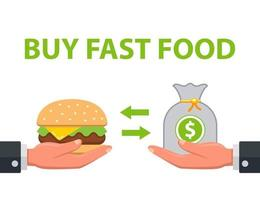 man buys fast food. grocery transaction. flat vector illustration.