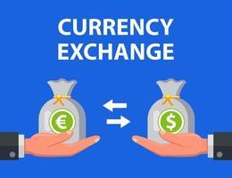 man exchanges dollars for euros. flat vector illustration.