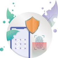 security protect mobile icon illustration in circle frame vector