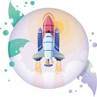Rocket lunch startup nature icon illustration in circle frame vector