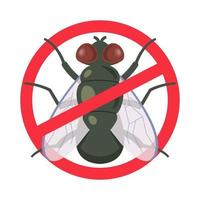 a means of protection against house flies. crossed out symbol. flat vector illustration