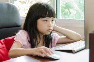 Bored girl at computer