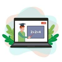 online math education. the teacher remotely teaches students through a computer. flat vector illustration.