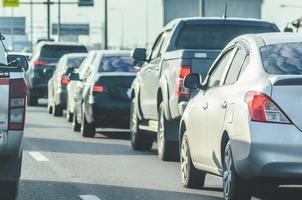 Cars stuck in a traffic jam photo