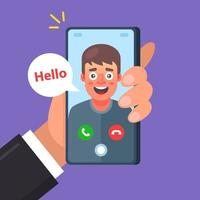 A friend is making a video call. conversation of two people. Flat character vector illustration.