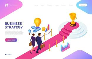 Gold Trophy Cup of the winner on a red carpet path. Businessman and businesswoman with briefcase in hand walking on red carpet to the success. Road to success. Business Strategy. vector