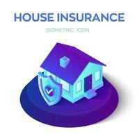 Casa asegurada isométrica 3d con escudo de seguridad con icono de verificación. póliza de seguro de protección de hogar y vivienda servicio comercial. seguro de propiedad y concepto seguro. vector