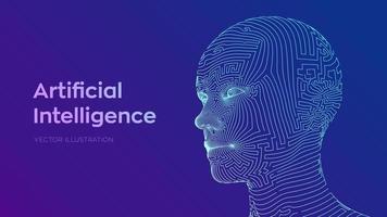 Abstract digital human face. Human head in robot digital computer interpretation. Robotics concept. Wireframe head concept. AI. Artificial intelligence concept. Ai digital brain.