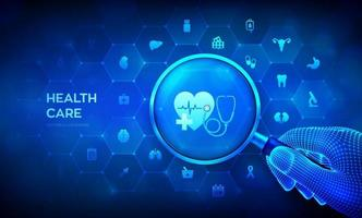Health care and medical services concept with magnifier in wireframe hand and icons. Magnifying glass and healthcare diagnosis and treatment infographic on virtual screen. vector