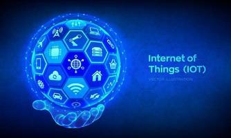 iot. concepto de internet de las cosas. todo conectado concepto de dispositivo de red y negocios con internet. esfera 3d abstracta o globo con superficie de hexágonos en mano de estructura metálica. vector