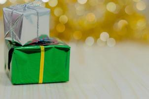 Silver and green gifts photo