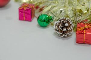 Christmas decorations on white photo