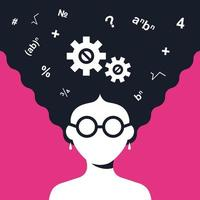 smart girl solves a math problem. Flat character vector illustration.