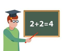 math teacher explains the task on the blackboard. Flat character vector illustration.