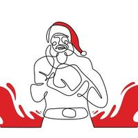 Santa claus with boxing glove continuous one line drawing. Christmas santa claus pose boxer man with a muscular body isolated on white background. Concept line art boxing for Christmas and New Year. vector