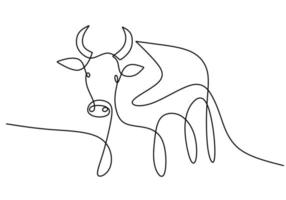 Continuous drawing of a bull symbol of 2021. Year of the Ox drawn in a modern minimalist style isolated on white background. Abstract ox, bull, cow. Happy new year 2021. Vector illustration