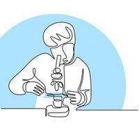 Un dibujo de línea continua del científico analiza la muestra con un microscopio de laboratorio. El joven científico masculino trabaja en el laboratorio para terminar su investigación. el concepto de microbiólogo realiza investigaciones vector