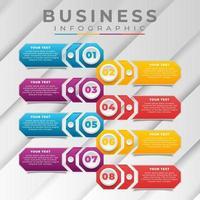 Plantilla de negocio infográfico con colores degradados. vector