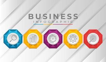 plantilla de negocio de infografía con elementos degradados vector