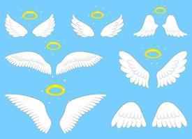 Ilustración de diseño de vector de alas de ángel aislado sobre fondo azul