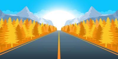 Ilustración de diseño de vector de fondo de paisaje hermoso de montaña