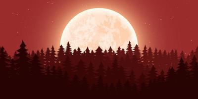 Ilustración de diseño de vector de fondo de paisaje de naturaleza de luna
