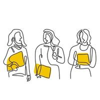 Continuous line drawing of three woman standing pose. Young smiling beautiful girl holding in a campus while holding book. Women in character happy teenager student. Back to school concept vector
