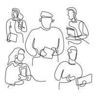 One line drawing of groups of happy college students standing pose after studying together at university library. Learn and study in campus life concept. Minimalist design. Vector illustration