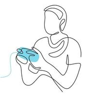 Continuous line drawing of gamer. A man playing the game with joystick at home during self isolation in pandemic hand-drawn picture silhouette. Line art minimalism design. Vector illustration
