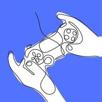 A hand holding game stick one line drawing vector illustration. A joystick to play the game minimalism hand-draw isolated on white background. Wireless game controller for PC concept.
