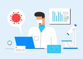 Chemical laboratory research. Vaccine discovery concept. Scientist, microscope and computer working on antiviral treatment development. Vector illustration in flat cartoon style