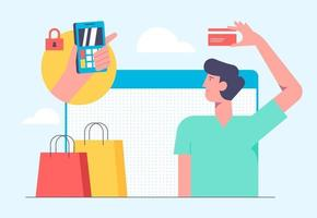 concepto de compra móvil en línea. ilustración vectorial en diseño de estilo plano. hombre comprando productos con tarjeta bancaria y realizando el pago en internet. vector
