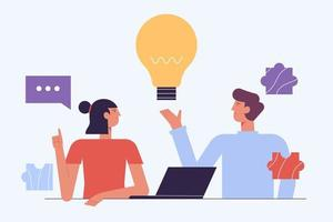 Brainstorm Concept. Creative People. Have Idea Working Together with Laptop .Successful Team in Coworking Space Developing Project. Partnership Cartoon Flat Vector Illustration