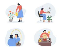 Stay home concept. Girl takes care for houseplants, work, cooking. Self isolation, quarantine due to coronavirus. Set of illustration of home activities vector