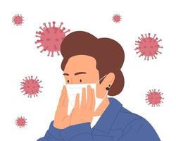 Women wearing protective medical mask for prevent virus. Stop coronavirus. Coronavirus outbreak vector illustration