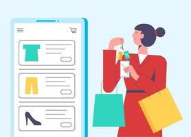Flat vector illustration concept of woman shopping online holding bag. Website interaction, purchase process. Creative landing page design template.