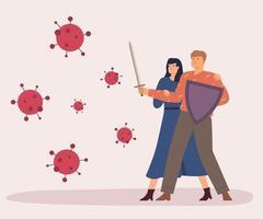 concepto de ilustración de personas de autoprotección. virus de lucha vectorial. brote de coronavirus. ilustración vectorial lucha contra el virus covid-19 o coronavirus. curar el virus corona. ilustración vectorial plana vector