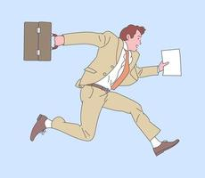 Happy successful businessman jumping with case. Flat vector illustration.