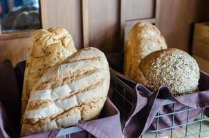 Baskets of fresh bread photo