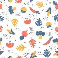 verduras de colores de patrones sin fisuras. Fondo de verduras. tomate, zanahoria, brócoli, maíz dulce, champiñones, cebolla. estilo escandinavo. concepto de comida orgánica saludable. ilustración vectorial vector