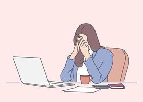 sentirse cansado y estresado. mujer joven frustrada manteniendo los ojos cerrados y cansado sentado en su lugar de trabajo en la oficina. ilustraciones de diseño de vectores de estilo dibujado a mano.