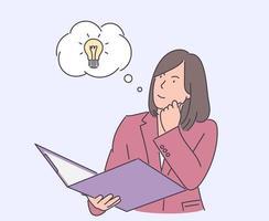 pensamiento, idea, éxito, concepto de negocio. joven mujer de negocios feliz creación de idea, problema o solución de problemas y lluvia de ideas. ilustraciones de diseño de vectores de estilo dibujado a mano.