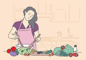 salud, vegano, comida, concepto de cocina. mujer chica cocina vegetariana de pie con alimentos saludables frutas y verduras en el restaurante de casa. estilo de vida saludable y nutrición o dieta adecuadas vector