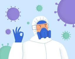 Person in Protective Suit Covid- 19. Stop coronavirus. Coronavirus outbreak vector illustration. Pandemic medical concept with dangerous cells. Human in respirator and protective clothing
